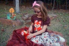 Forest Animal Ruffle Pants featured with Fox Girl Applique 750074
