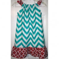 chevron_aqua_and_red_little_mermaid_fluttersleeve_dress