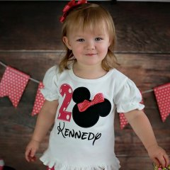 Minnie Head Birthday with Sewn Bow Kennedy
