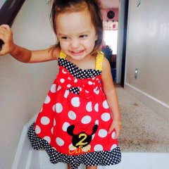Butterscotch Dress with Minnie Mouse Head with a Bow Applique